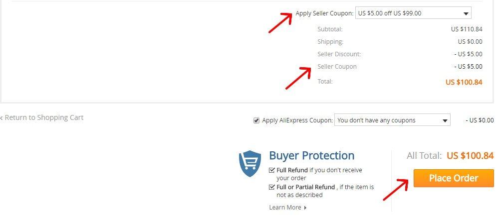 Jak zaplatit s slevove kupony z Aliexpress 1