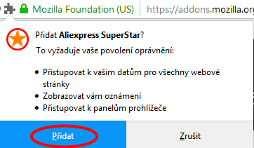 Mozilla Firefox instalace Aliexpress Superstar 3c
