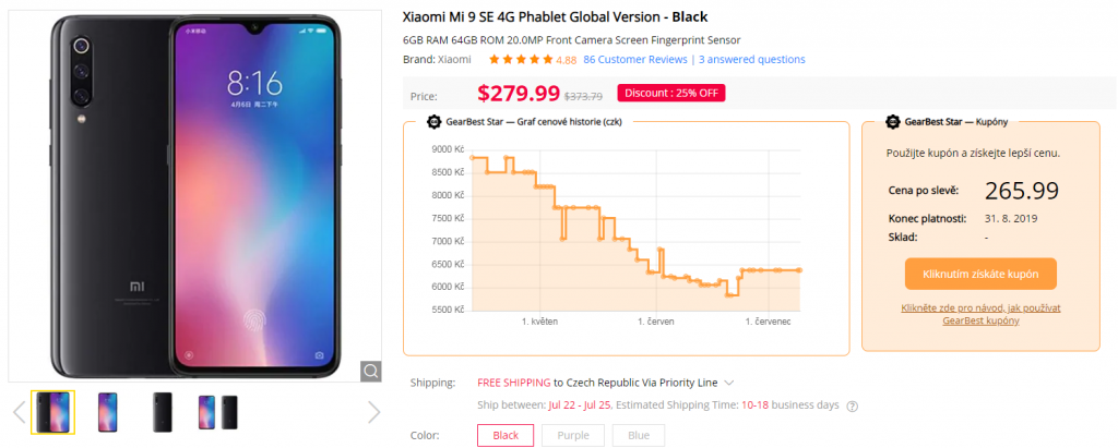 Xiaomi Mi 9 SE review recenze GearBest coupons kupony