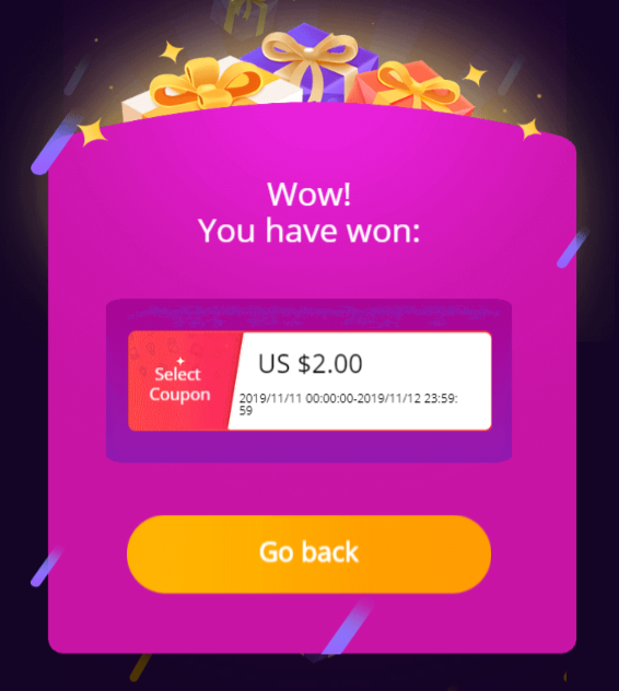 Aliexpress final prizecoupons coins 11 11 2019 Money hop 3